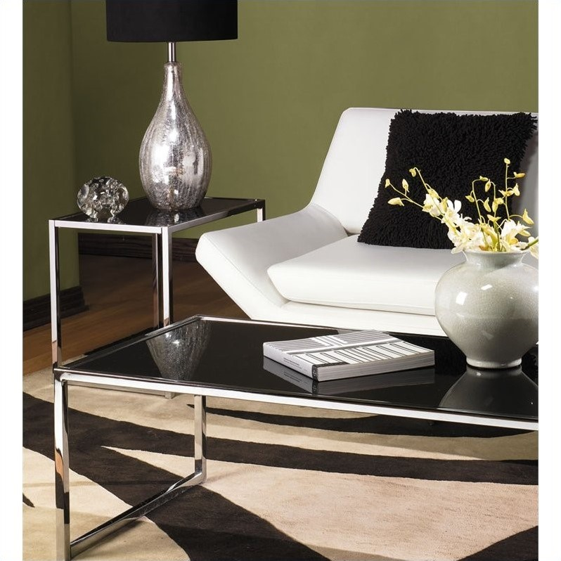 Avenue Six Yield 2 Piece Glass Top Coffee Table Set in Black