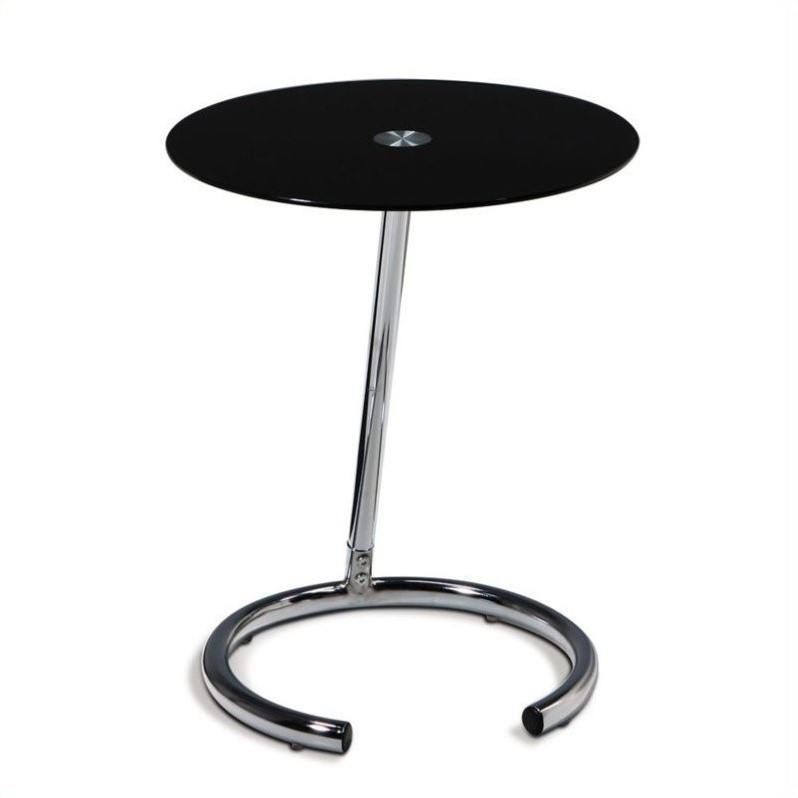 Chrome End Table with Black Glass Top
