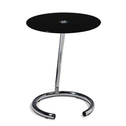 Avenue Six Chrome End Table with Black Glass Top