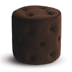 Avenue Six Curves Round Tufted Ottoman in Chocolate Velvet
