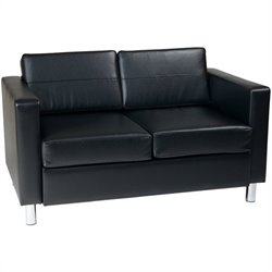 Loveseat in Black Faux Leather / Vinyl