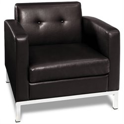 Faux Leather Tufted Club Arm Chair