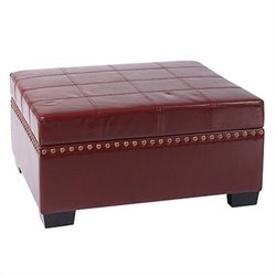 Avenue Six Detour Storage Ottoman with Tray in Cherry Eco Leather