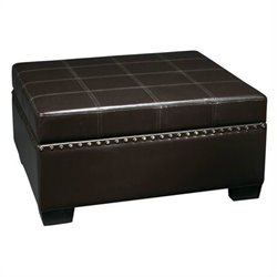 Avenue Six Detour Storage Ottoman with Tray in Eco Leather
