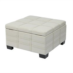 Eco Leather Storage Ottoman with Tray in Cream