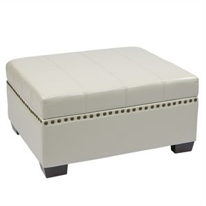 Storage Ottoman with Tray in Cream Eco Leather