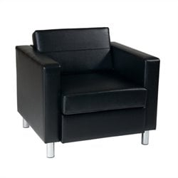 Leather Club Barrel Chair in Black