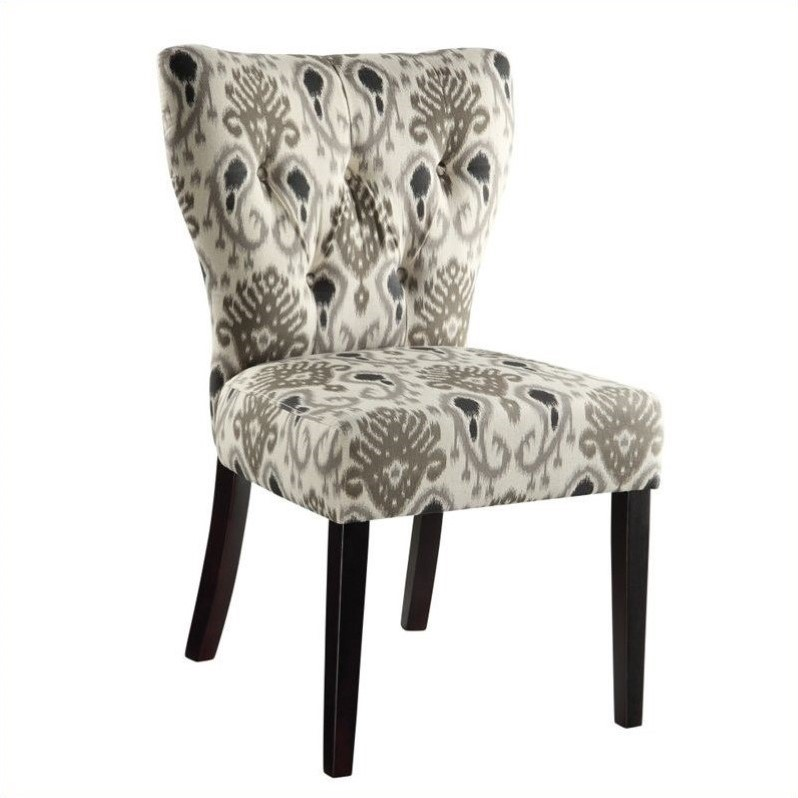 Dining Chair in Medallion Ikat Grey