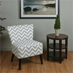 Avenue Six Apollo Upholstered Slipper Chair in Gray Geometric Pattern