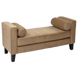 Avenue Six Curves Bench in Coffee Velvet