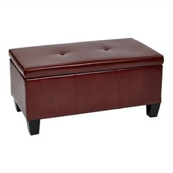 Avenue Six Detour Storage Bench in Crimson Red Eco Leather