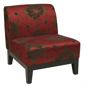 Slipper Chair in Red Floral Pattern