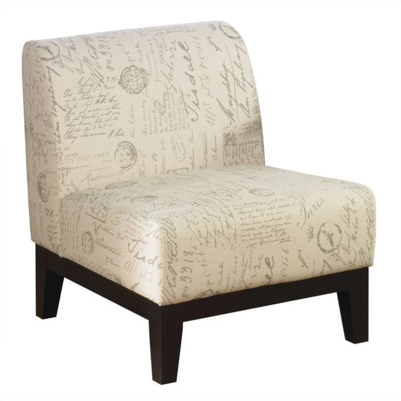 Accent Fabric Slipper Chair In Script Ivory