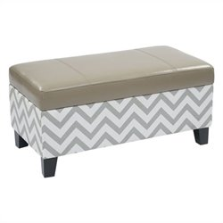 Avenue Six Hudson Storage Ottoman in Zig Zag Grey