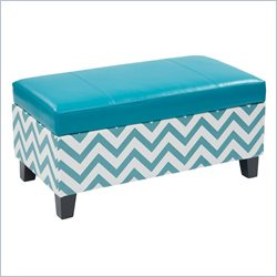 Avenue Six Hudson Storage Ottoman in Zig Zag Blue