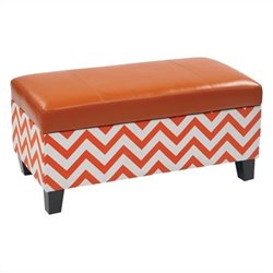 Avenue Six Hudson Storage Ottoman in Zig Zag Orange