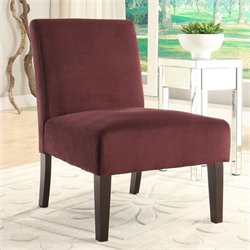 Avenue Six Laguna Velvet Slipper Chair in Red
