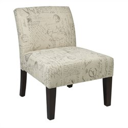 Avenue Six Laguna Fabric Slipper Chair in Script Ivory