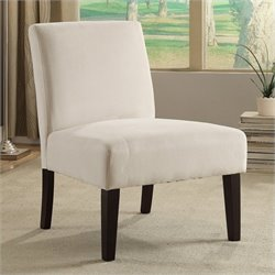 Avenue Six Laguna Velvet Slipper Chair in Ivory