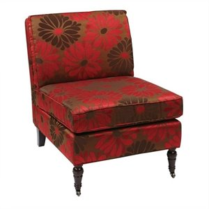 Fabric Slipper Chair in Red Floral Pattern