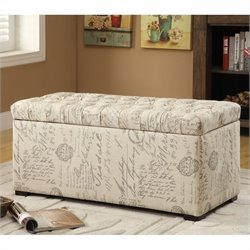 Tufted Storage Bench Script Fabric