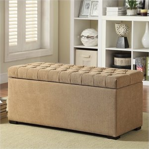 Tufted Storage Bench in Beige