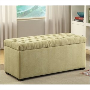 Tufted Storage Bench Shultz Basil Fabric