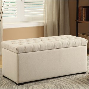 Tufted Storage Bench Linen Fabric