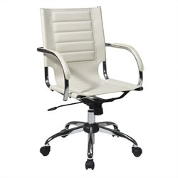 Office Chair With Fixed Padded Arms and Chrome in Cream