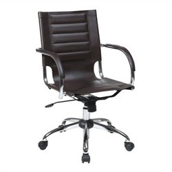Avenue Six Trinidad Office Chair With Fixed Padded Arms and Chrome in Espresso