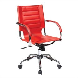 Office Chair With Fixed Padded Arms and Chrome in Red