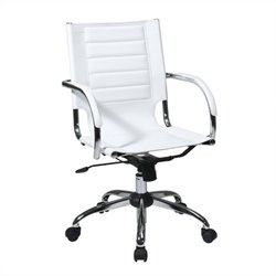 Avenue Six Trinidad Office Chair With Fixed Padded Arms and Chrome in White