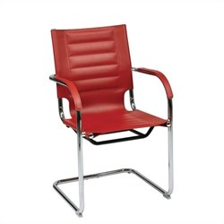 Avenue Six Trinidad Guest Chair in Red Vinyl