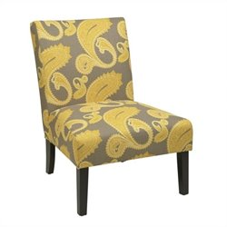 Avenue Six Victoria Slipper Chair in Yellow Floral Pattern