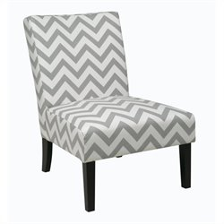 Avenue Six Victoria Upholstered Slipper Chair in Gray Geometric Pattern