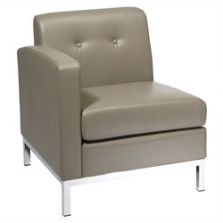 Faux Leather Arm Chair in Gray