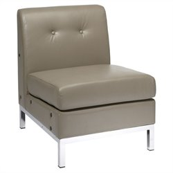Avenue Six Wall Street Faux Leather Tufted Slipper Chair in Gray