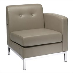 Avenue Six Wall Street Faux Leather Arm Chair in Gray