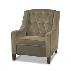 Cruves Tufted Back Accent Chair in Beige