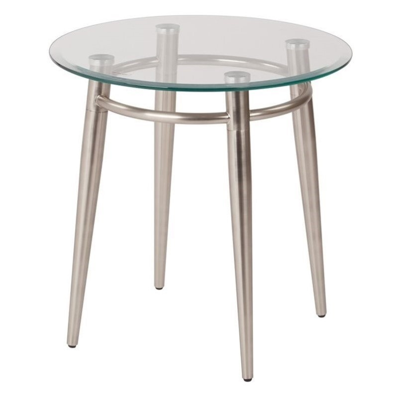Tempered Glass Round Top End Table In Silver Mg0920r Nb