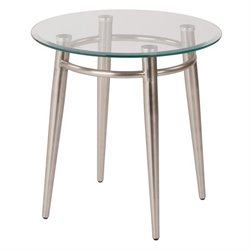 Avenue Six Brooklyn Tempered Glass Round Top End Table in Silver