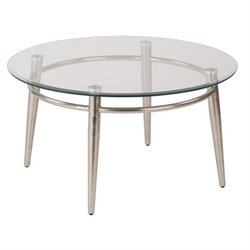 Avenue Six Brooklyn Tempered Glass Round Top Coffee Table in Silver