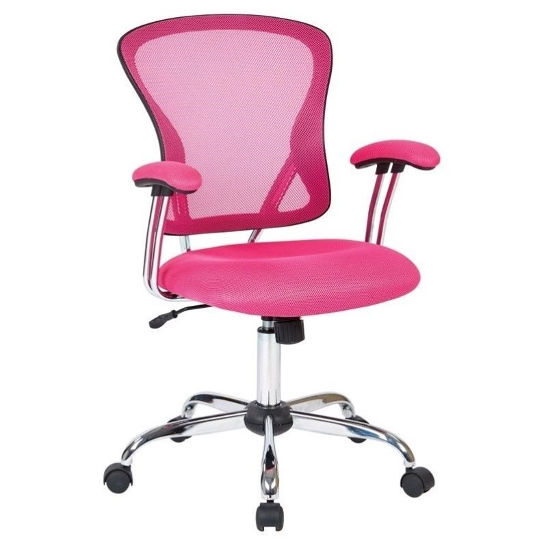 Mesh Back Office Chair In Pink Jul26 261
