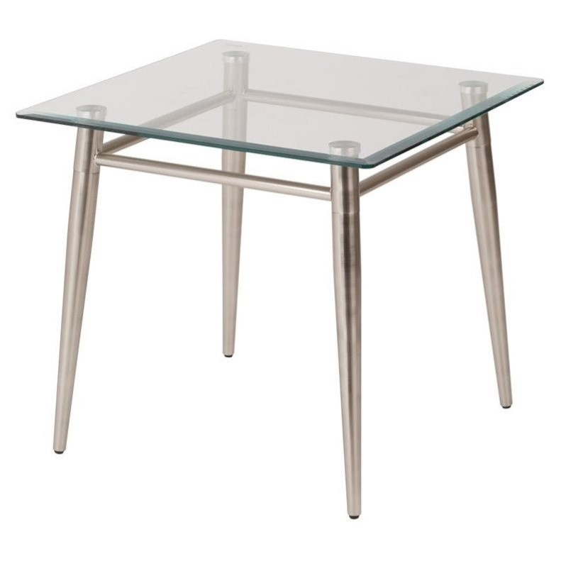 Tempered Glass Square Top End Table In Silver Mg0922s Nb