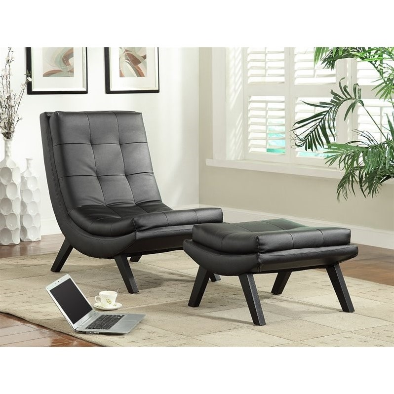 Faux Leather Lounge Chair And Ottoman Set In Black