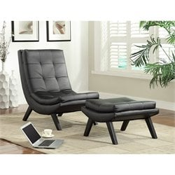 Avenue Six Tustin Faux leather Lounge Chair and Ottoman Set in Black