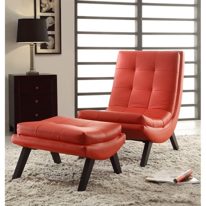 Faux Leather Lounge Chair And Ottoman Set In Red