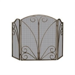 3 Fold Venetian Bronze Screen with Decorative Scrollwork