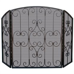 Uniflame 3 Fold Graphite Screen with Decorative Scrollwork