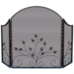 3 Fold Arch Top Graphite Screen with Leaves